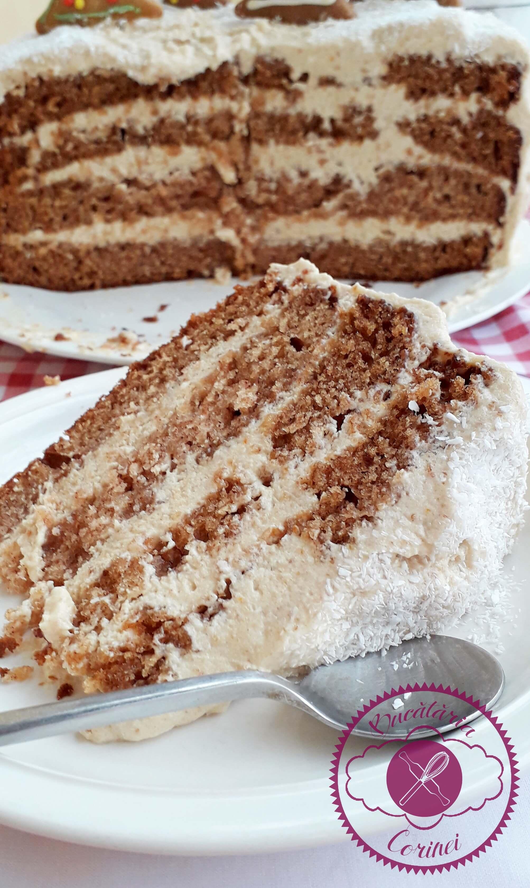 Tort de turta dulce cu crema de biscuiti